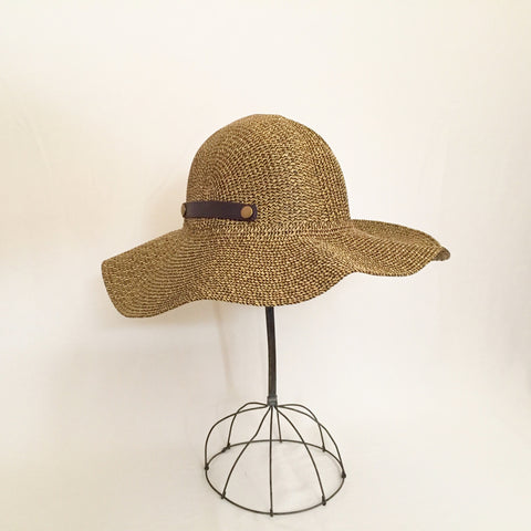 Wide Brim Brown Tweed Sun Hat