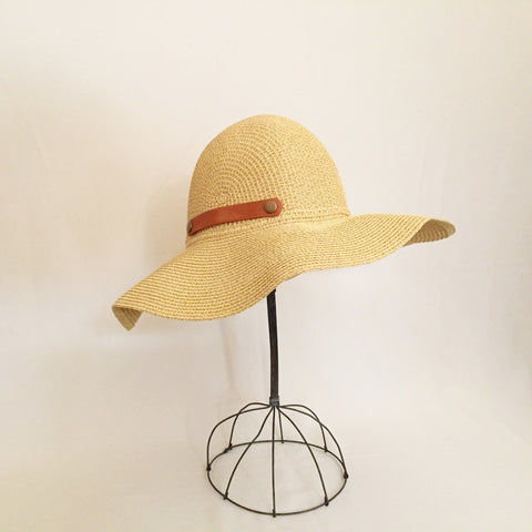 Wide Brim Natural Tweed Sun Hat