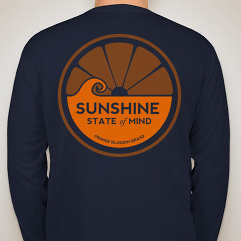 Sunshine State of Mind Long Sleeve Performance Tee - Vintage Orange and Blue