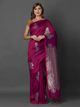 Magenta Silk Blend Woven Design Banarasi Saree
