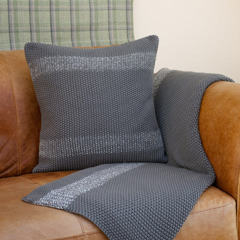 La De Da! Living Large Chunky Grey Knitted Cushion