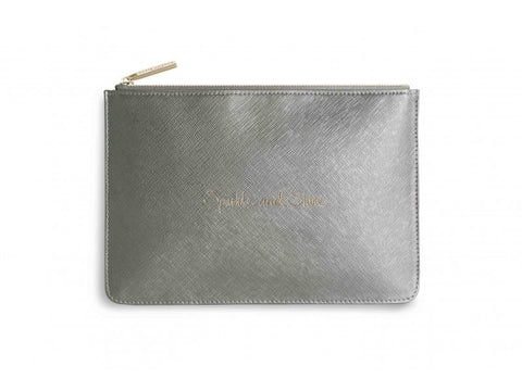 Katie Loxton Sparkle And Shine Perfect Pouch In Silver