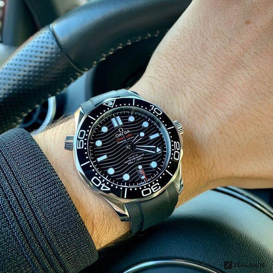RUBBER STRAP FOR OMEGA® SEAMASTER DIVER 300M CO-AXIAL 42MM BLACK CERAMIC