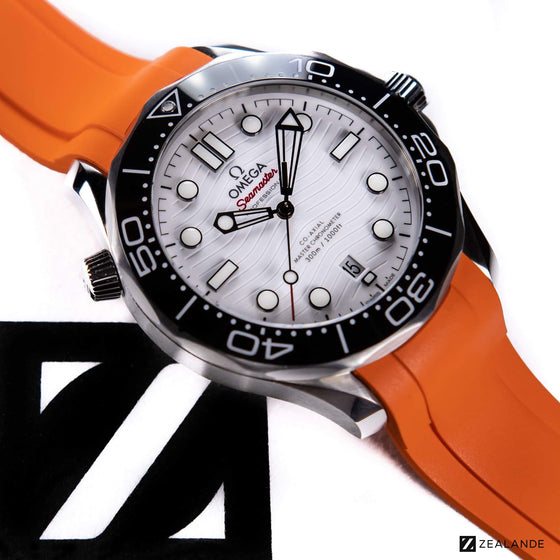 RUBBER STRAP FOR OMEGA® SEAMASTER DIVER 300M CO-AXIAL 42MM WHITE CERAMIC