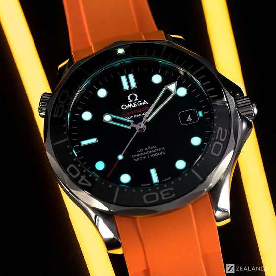 RUBBER STRAP FOR OMEGA® SEAMASTER DIVER 300M CO-AXIAL 41MM BLACK CERAMIC