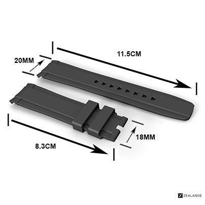 RUBBER STRAP FOR OMEGA® SEAMASTER RAILMASTER CO‑AXIAL 40MM GRAY
