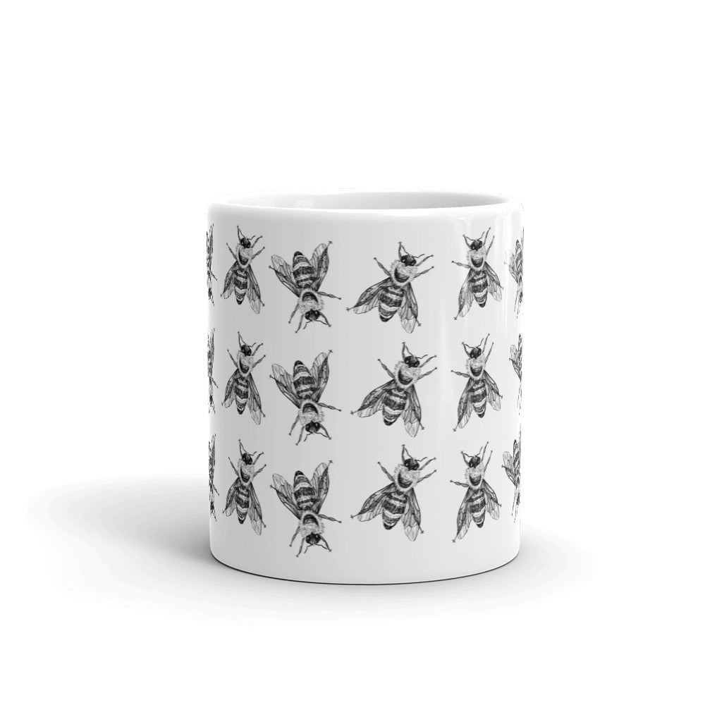 Bees Pattern | Black and White Mug