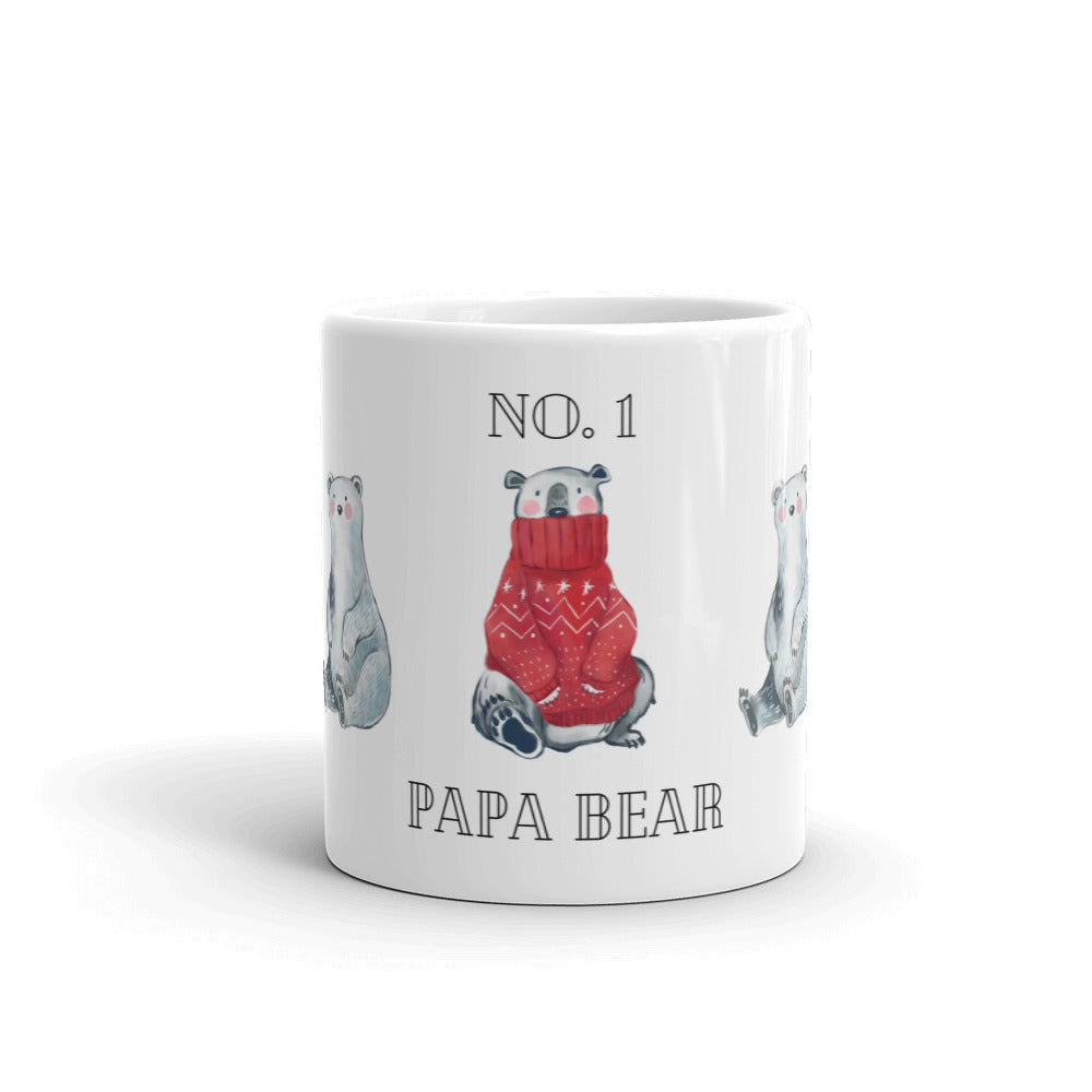No. 1 Papa Bear  - Fun Playful Mug | White glossy mug