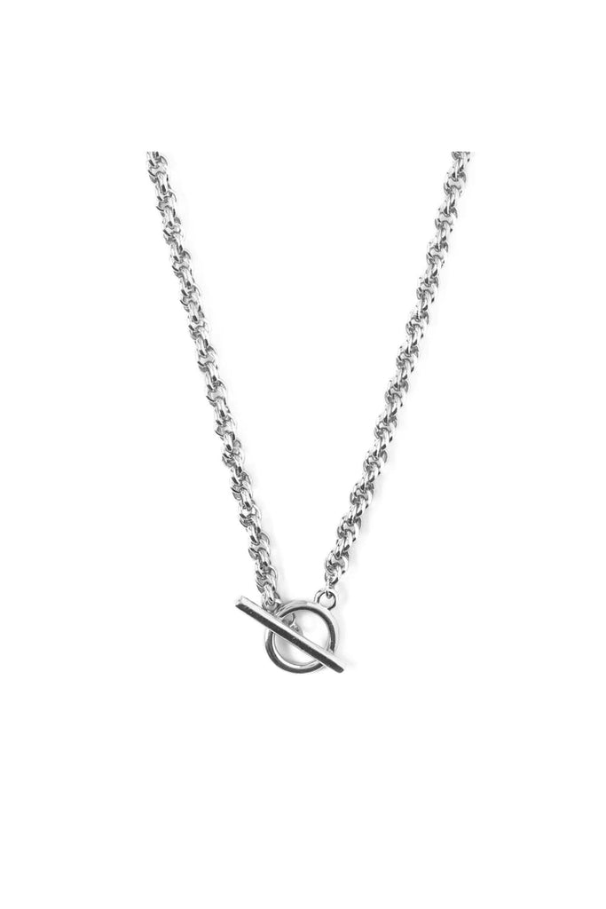 Chunky Rope Chain T Bar Necklace Silver - Tilbehør