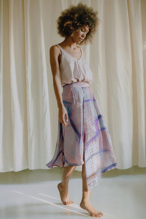 SUMMER PRINT HIGH-LOW MIDI SKIRT