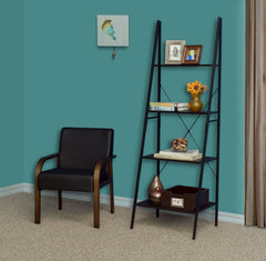 wood and metal ladder bookcase in a study next to a reading chair