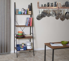 wood and metal ladder bookcase display in a kitchen