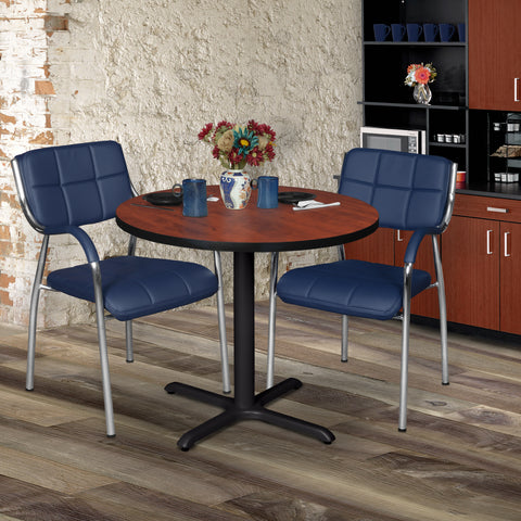 breakroom table with a round wood top and metal x-base