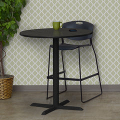 breakroom table with wood round top and metal x base for cafe