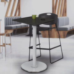 breakroom table with square wood top and metal platter base for cafe