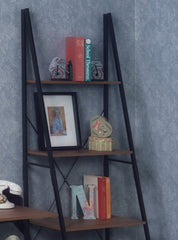 wood and metal ladder bookcase with books and framed pictures