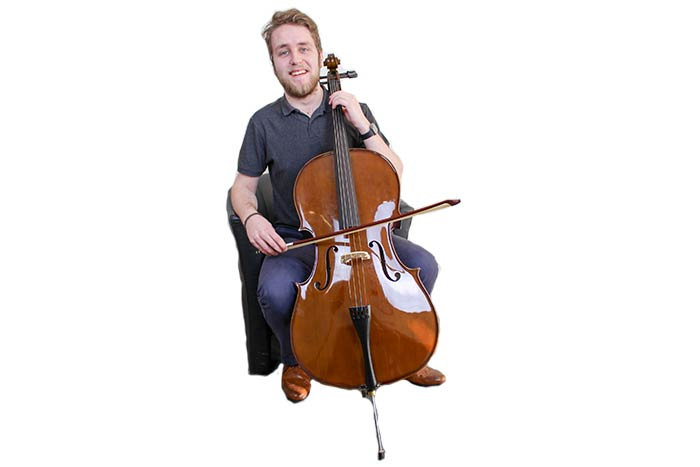 Mini J with his Chosen Cello looking very happy with himself