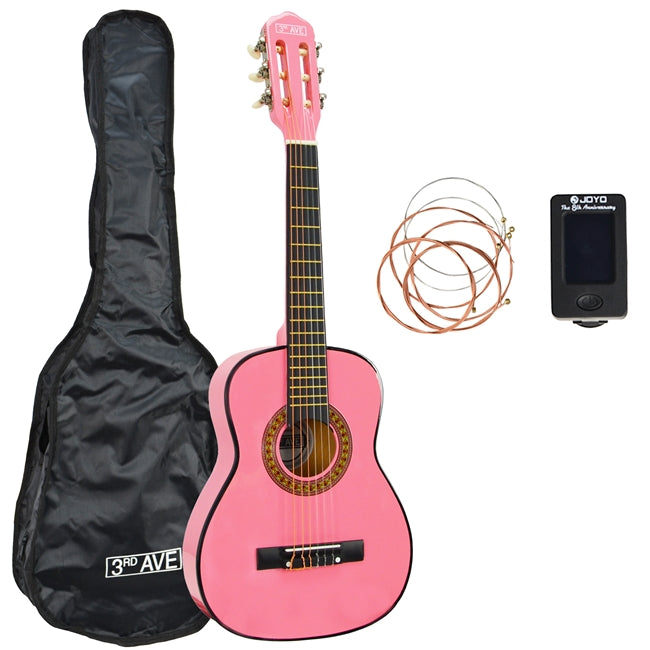 3rd Avenue 1/4 Size Classical Guitar Pack - Pink