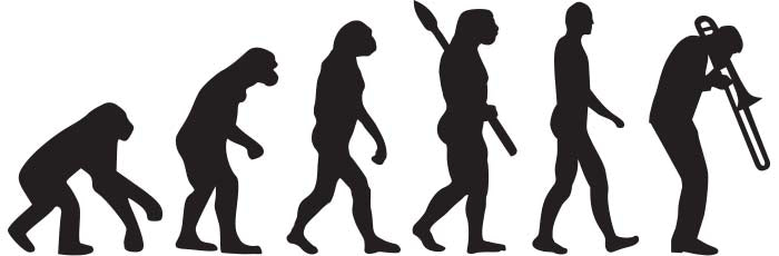 evolution ending with a trombone