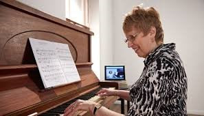 Your Space Music Lessons student, Maureen, learns the piano at home with skype piano lessons