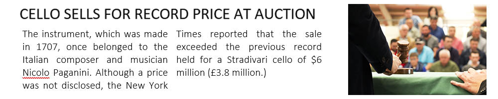 Mock newspaper clipping from the sales of a cello
