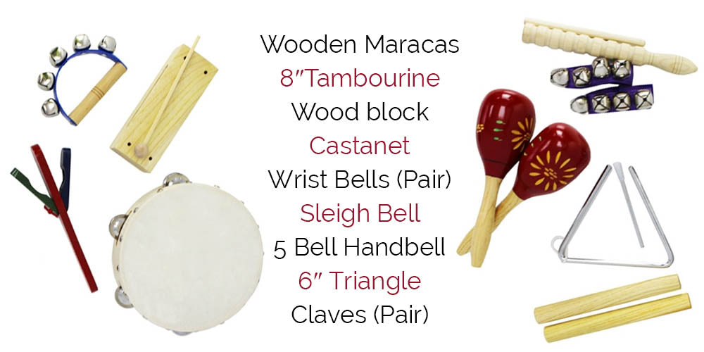 List of items included in the percussion pack
