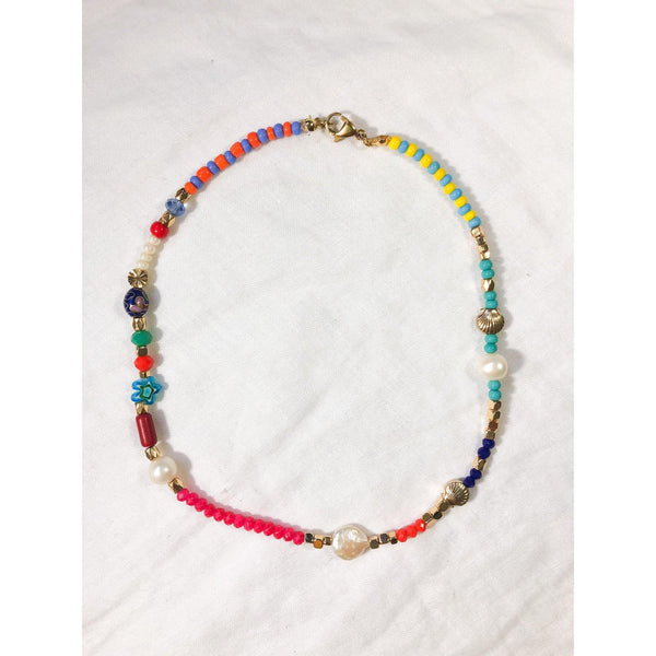 Colorful Beaded Necklace with a Touch of Freshwater Pearl