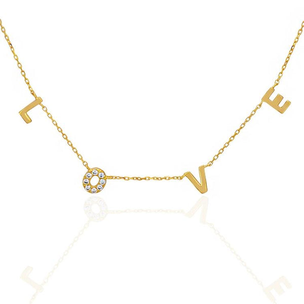 LOVE Charm Letters Gold Chain Necklace - gold-plated