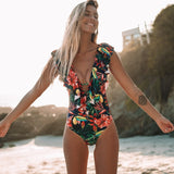 Sexy One Piece 2020 Swimsuit Push Up Swimwear Women Ruffle Monokini Adjustable Shoulder Swimsuit Bodysuit Bathing Suit Swim Wear