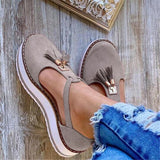 2020 Spring Summer Women's Tassel Round Toe Flat Shoes New Ladies Platform Casual Shoes Dress Party Cute Female Vulcanized Shoes