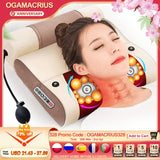 OGAMACRIUS 2 In1Massage Pillow Heat Shiatsu Device Electric Cervical Healthy Body Relaxation Massage For Back Neck Massager