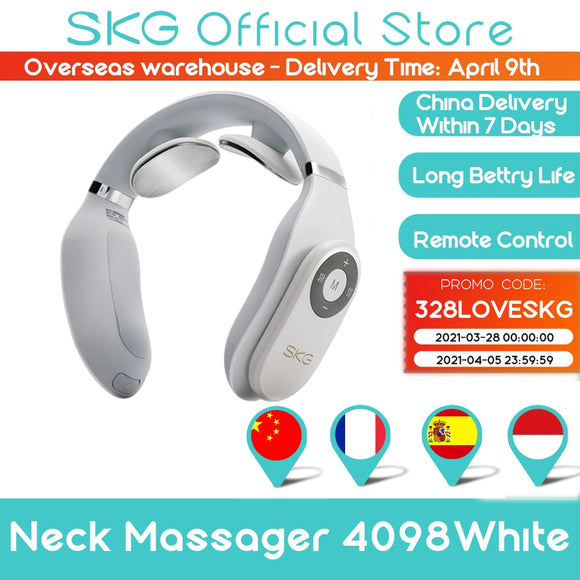 SKG Massager For neck Remote Control Hot Compress TENS Electric Pulse Smart Neck Massager Cervical Pain Relief Long Battery Life