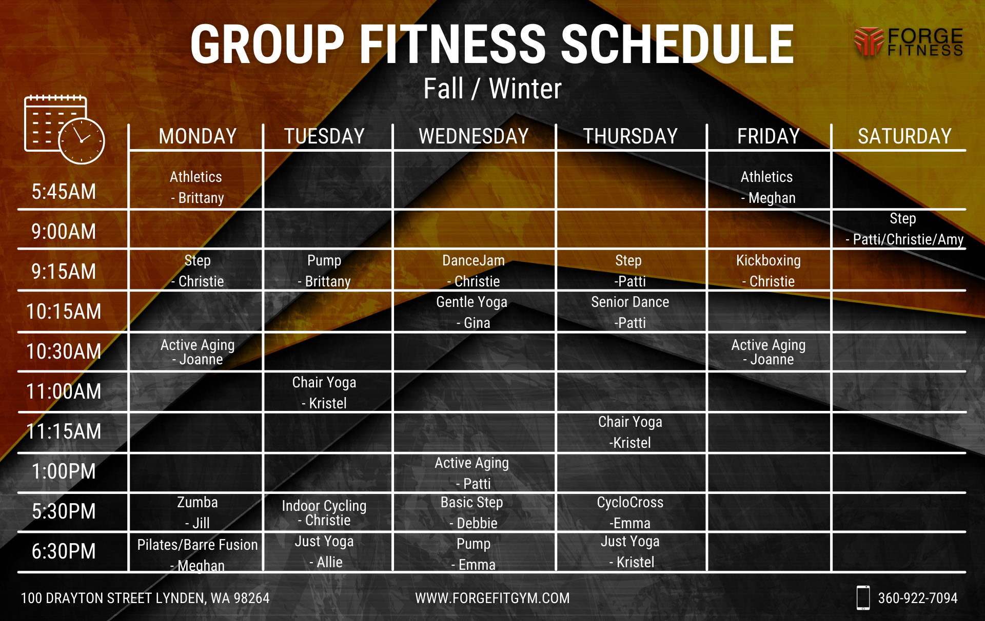 Forge Fitness Fall/Winter Schedule