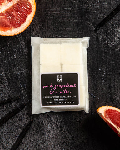Pink grapefruit and vanilla wax melts Henry and co home fragrance