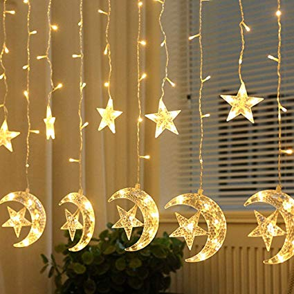 Star and moon curtain light Yellow