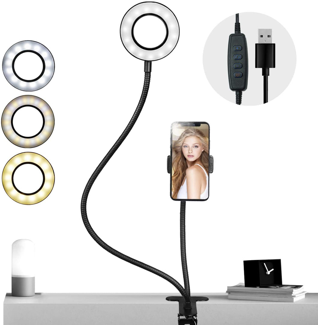 Selfie ring light with phone holder and clamp