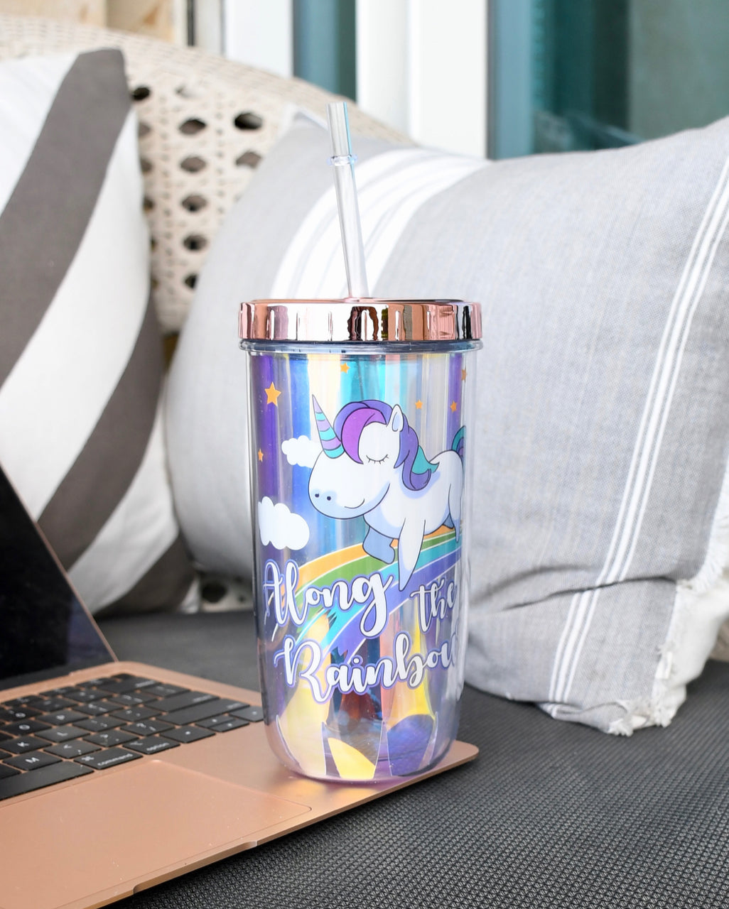 Unicorn holographic travel sipper with straw
