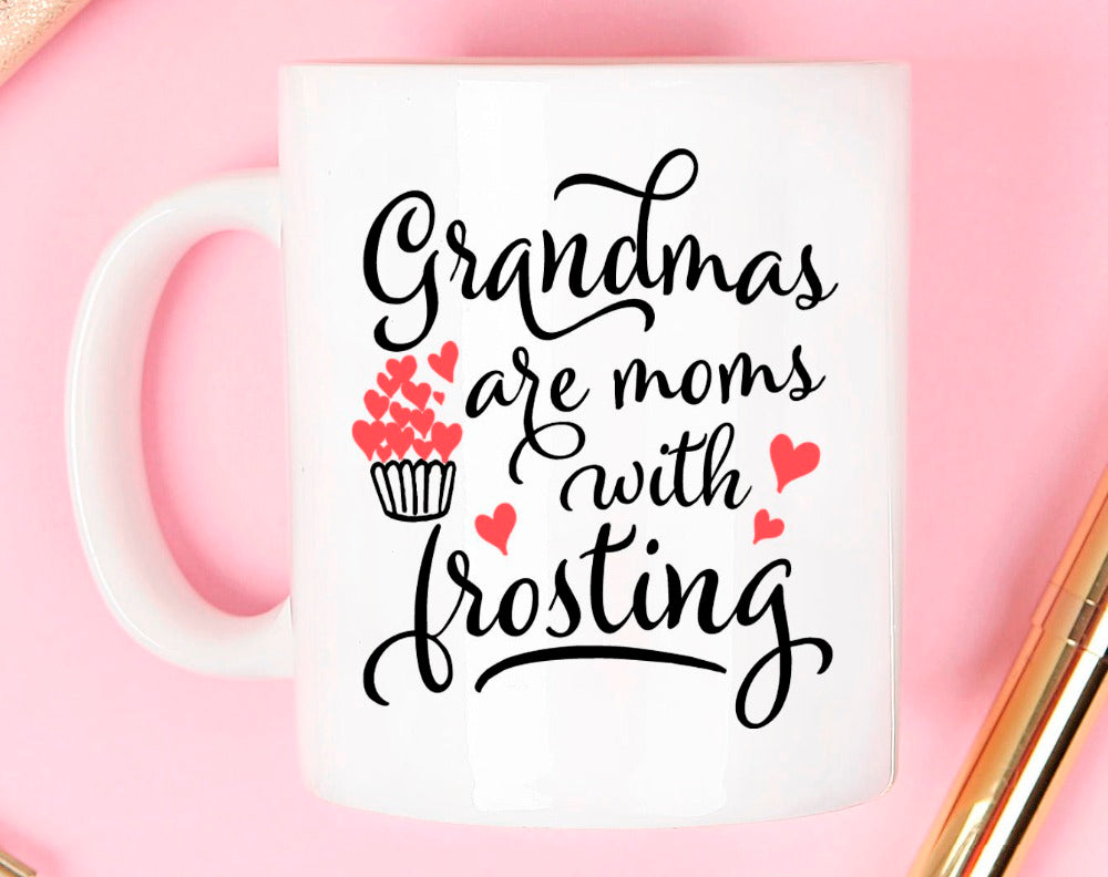 Grandma s are moms with frosting Mug fancy quote mugs stylist white black embossed print