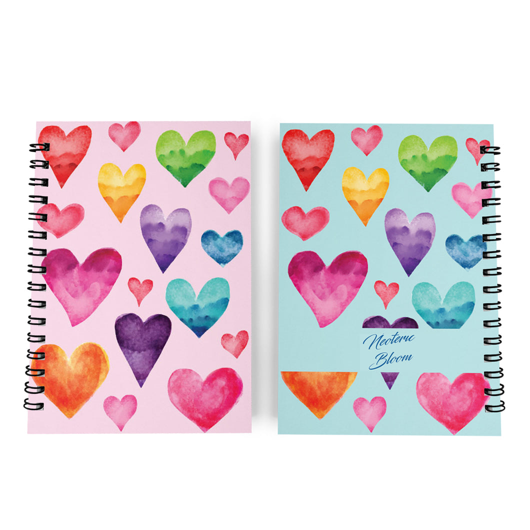 Notebook Journal Colourful Hearts