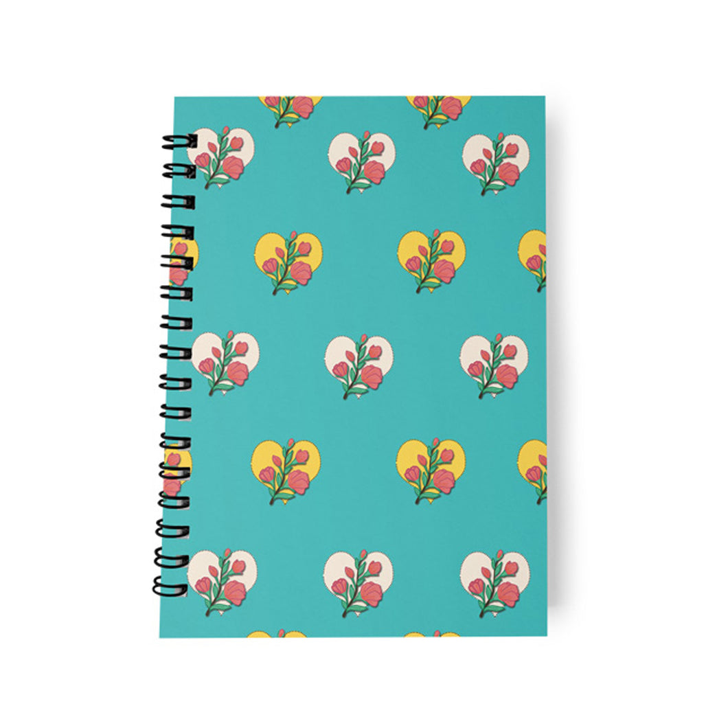 Monthly Planner Vintage Blue Flowers amp Hearts
