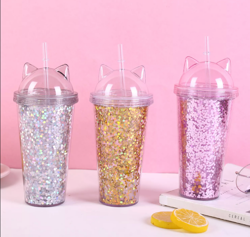 Cat ears glitter travel mug with straw
