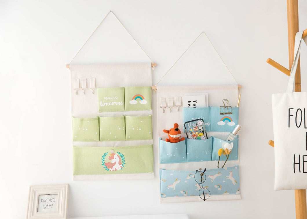 Pocket Wall organiser : Unicorn and rainbow