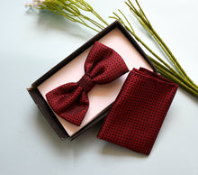 Load image into Gallery viewer, Tie Pocket square set red checks