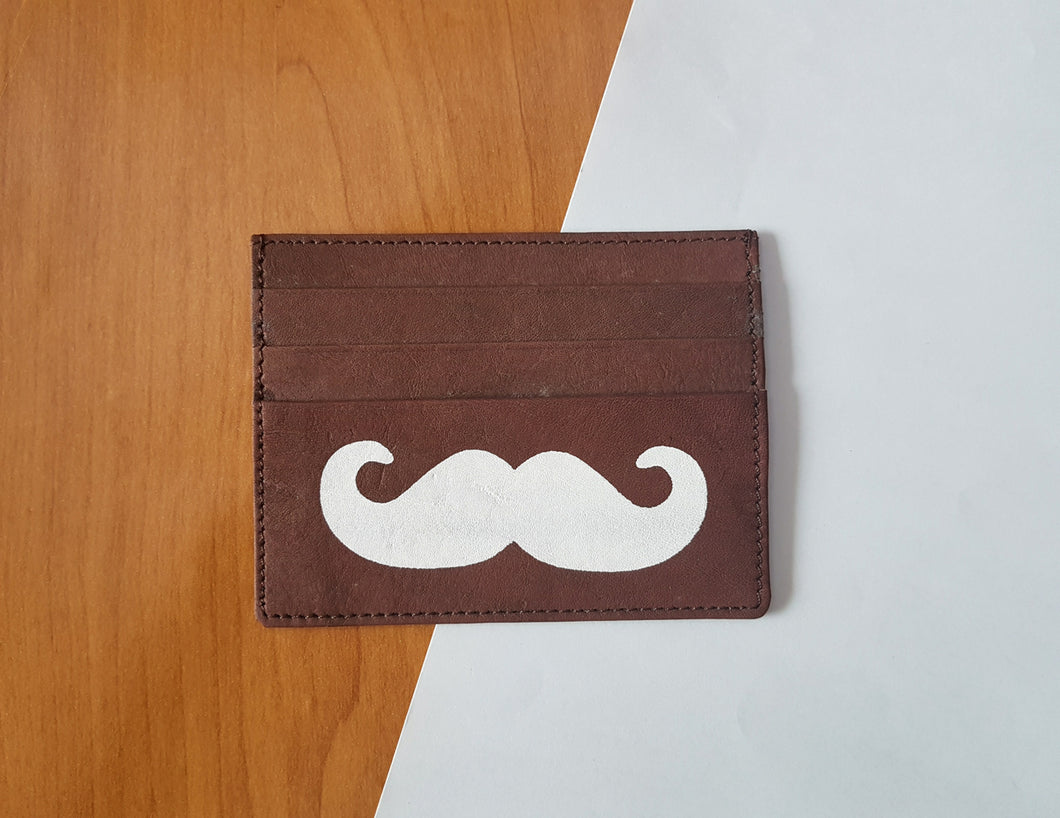 Moustache Card Holder Leather
