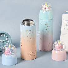 Load image into Gallery viewer, Unicorn 3d cupcake glitter thermos