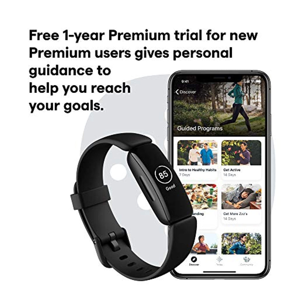 24//7 Heart Rate One Size Fitbit Inspire 2 Health /& Fitness Tracker with a Free 1-Year Fitbit Premium Trial Black//Black S /& L Bands Included