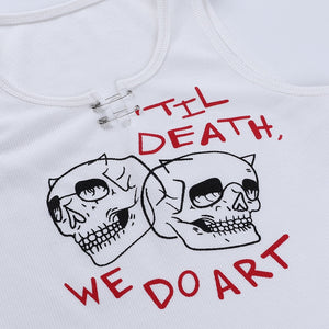 Crop Top Grunge Skull - IndieAesthetics