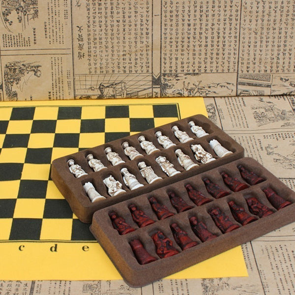 Antique leather chess set