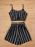 Striped Cropped Cami Top & Belted Paperbag Shorts Set
