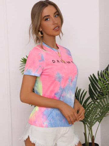 Letter Graphic Tie Dye Top